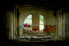 Old factory. Interior ruins of an old factory Royalty Free Stock Photo