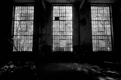 Old factory. Interior ruins of an old factory Royalty Free Stock Images