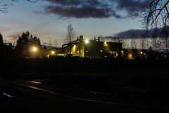 Old Factory at Night in Corvallis Oregon stock photos