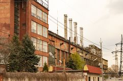 Old factory with pipes royalty free stock photo