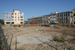 Old factory Proletarul in Bacau. Former factory Proletarian (Proletarul in romanian) is down - a new residential neighborhood in the city Royalty Free Stock Photos