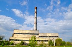 Old factory and smokestack Royalty Free Stock Photos