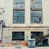 Old factory window art stock images
