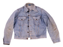 Old Faded Denim Blue Jean Levi Jacket Isolated. Old faded blue jean Levi denim coat jacket. The ultimate look for the cool and hip or those who just want a hip royalty free stock images