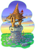 Old Fairy Tale Wishing Well with Animals Vector Cartoon Stock Image