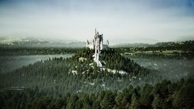 Old fairytale castle on the hill. aerial view. 3d rendering. Royalty Free Stock Photo