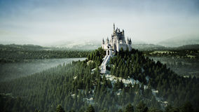 Old fairytale castle on the hill. aerial view. 3d rendering. Stock Image