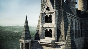 Old fairytale castle on the hill. aerial view. 3d rendering. Royalty Free Stock Image