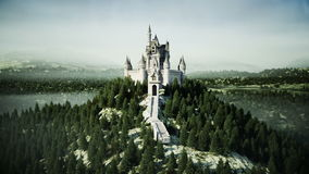 Old fairytale castle on the hill. aerial view. Realistic 4k animation.