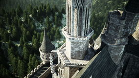 Old fairytale castle on the hill. aerial view. Realistic 4k animation. stock video