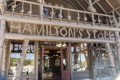 Old Faithful Basin Store entrance. The `local` store at the famous geyser attraction in Yellowstone known for its hot-water eruptions on a consistent schedule royalty free stock photo