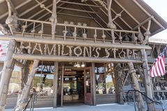 Old Faithful Basin Store entrance. The `local` store at the famous geyser attraction in Yellowstone known for its hot-water eruptions on a consistent schedule royalty free stock images