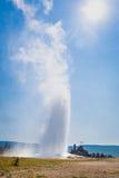 Old Faithful Geyser Erupting at Yellowstone National Park. Old Faithful Geyser Erupting at The Yellowstone National Park stock photography