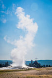 Old Faithful Geyser Erupting at Yellowstone National Park. Vertical Angle of Old Faithful Geyser Erupting at Yellowstone National Park stock photography