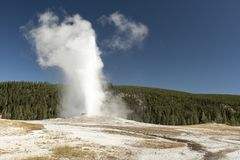 Old Faithful geyser eruption 2018. Famous geyser attraction in Yellowstone known for its hot-water eruptions on a consistent schedule royalty free stock image
