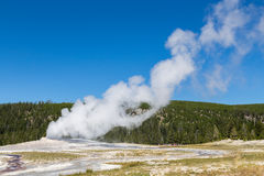 Old Faithful geyser eruption into Yellowstone National Park, USA Stock Photography