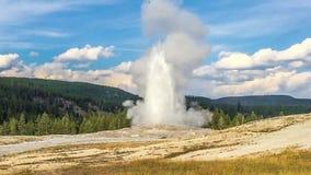 Old Faithful Geyser - the landmark of Yellowstone National Park stock video