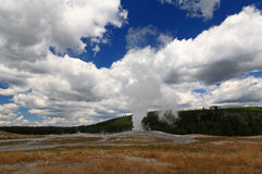 The Old Faithful Geyser in Yellowstone Royalty Free Stock Photography