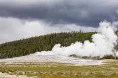 Old Faithful Geyser in Yellowstone National Park Royalty Free Stock Photos