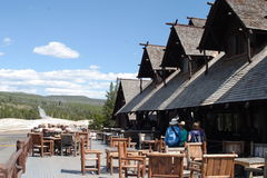 Old Faithful Inn. Looking towards Old Faithful Geyser from the deck of the Old Faithful Inn in Yellowstone National Park, Wyoming Royalty Free Stock Image