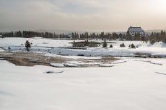 Old Faithful lodge, Yellowstone stock images