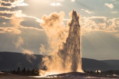 Old Faithful under the Jesus Light Royalty Free Stock Photos