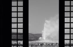 Old Faithful through the window Stock Images