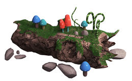 Old fallen tree and mushr. 3d illustration on a white background. old fallen tree and mushrooms Stock Images
