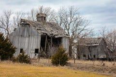 Old Falling down barn, Nebraska Royalty Free Stock Images