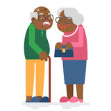 Old family African Adult Grandfather Grandmother Flat Design Vector Illustration Stock Photo