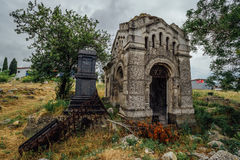 An old family-owned mausoleum, a crypt on an abandoned Jewish cemetery Royalty Free Stock Photos
