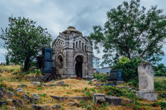 An old family-owned mausoleum, a crypt on an abandoned Jewish cemetery Stock Photo