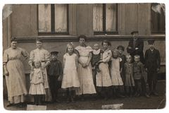 Old family photo, parents with eleven children royalty free stock photography