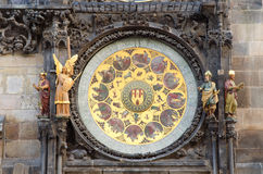 Old Famous Astronomical Clock Detail,Prague Stock Images