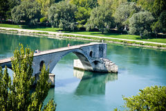 Old famous bridge in Avignon panorama Royalty Free Stock Images