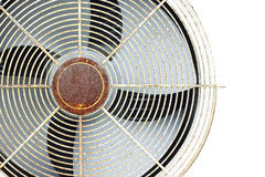 Old fan air compressor. With frame on white wall stock photos