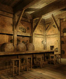 Old fantasy tavern. Old wooden fantasy tavern with stools Stock Photography