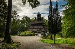 Old Fantoft stave church, Bergen, Norway royalty free stock photo