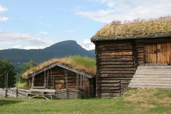 Old farm. Norwegian old farm, wooden buildings Stock Photos