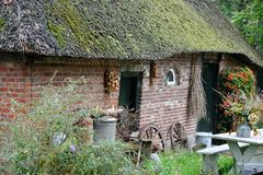 Old dutch farm barn with thatched roof Royalty Free Stock Images