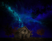 Old Farm barn, Milky Way. Illustration of an old farm barn with a night sky of stars and the Milky Way Royalty Free Stock Image