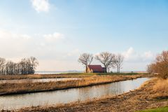 Old farm in a wetland. Old farm with barns in a wetland area in the Netherlands. The farm and the house behind it have been provided with a dike as part of the Stock Photos