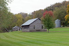 Old Farm Building on Mowed Lawn Stock Photos
