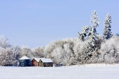 Old farm buildings in Winter Royalty Free Stock Image