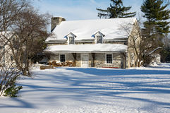 Old Farm Buildings in Winter Royalty Free Stock Photography