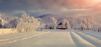 Old farm in the Carpathian mountains. Stock Photo