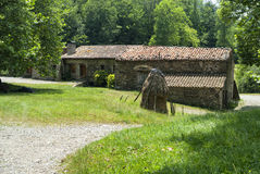 Old farm in Catalunya (Spain). Old typical farm along the Collado de Ares (Pirineos, Catalunya, Spain) at summer royalty free stock photo