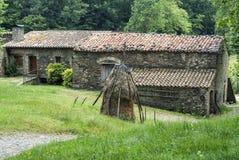 Old farm in Catalunya (Spain). Old typical farm along the Collado de Ares (Pirineos, Catalunya, Spain) at summer stock photos