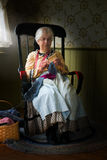 Old Farm Country Woman Knitting Stock Photo