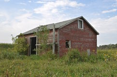 Old farm dilapidated shed Stock Photo